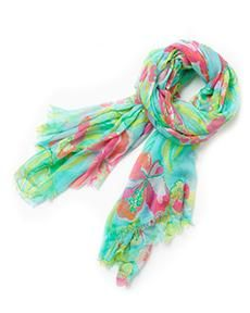 Lilly Pulitzer Castaway Scarf in Aqua Island Cocktail add some brightness to the fall!!