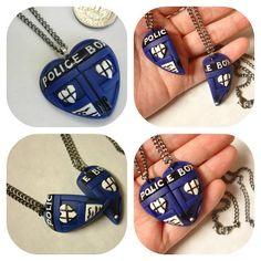 GUO GUO'S - The Original Dr Who Tardis Corazón Collar / BFF Tardis del corazón del collar de la collar / Amistad, hecho para orderMade para ordenar