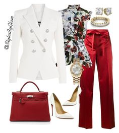 """""""GIRL BOSS"""" by stylesbyglam on Polyvore featuring Helmut Lang, Erdem, Balmain, Christian Louboutin, Hermès and Rolex"""