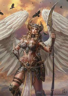 fantasy and science fiction Fantasy Warrior, Fantasy Girl, Chica Fantasy, Angel Warrior, Fantasy Women, Fantasy Rpg, Fantasy Artwork, Warrior Girl, Viking Warrior Woman