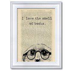 Wandgestaltung - Print *I love the smell of books* - ein Designerstück von japples bei DaWanda