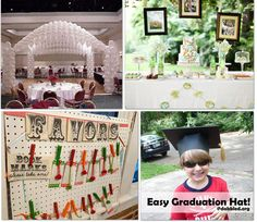 Like the hanging pictures!   30 Ways To Celebrate Your Graduate! {graduation party} - Tip Junkie