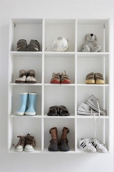 shoe storage for the girls' room