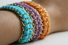 Turquoise, violet and orange - chevron friendship bracelets. The perfect spring arm candy! Great Mother's Day Gift.
