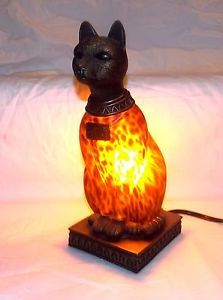 Vintage-Amber-Stained-Glass-Bronze-Metal-Base-Egyptian- lustres e abajour tiffany - Pesquisa Google