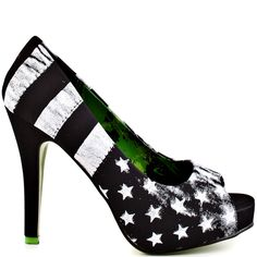 Rock out at your favorite concert in the Rock star Platform by Abbey Dawn.  A black synthetic upper is decorated with white stripes and smudged stars at the peep toe 1 inch platform.  You'll gasp out loud at the cute pop of green on the 4 3/4 inch heel.