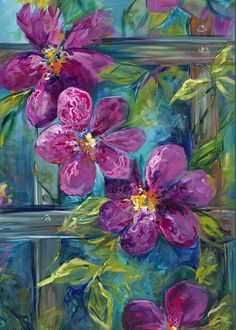 Clematis Turquoise Garden by Karen Ahuja - Clematis Turquoise Garden Painting - Clematis Turquoise Garden Fine Art Prints and Posters for Sale Garden Painting, Painting & Drawing, Watercolor Paintings, Garden Art, Flower Paintings, Oil Paintings, Landscape Paintings, Arte Floral, Beautiful Paintings