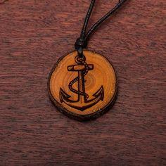 Anker - Ketten Holzschmuck aus Naturholz / Anhänger Washer Necklace, Pendant Necklace, Vegan, Jewelry, Wood, Anchor, Chains, Handmade, Ring