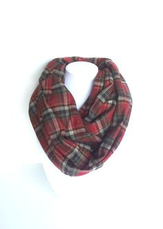 Plaid Scarf Blanket Scarf Red Infinity Scarf by FashionelleStudio