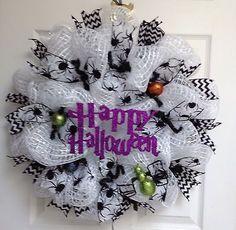 Adorable Handmade Deco Mesh Spider Happy Halloween Wreath