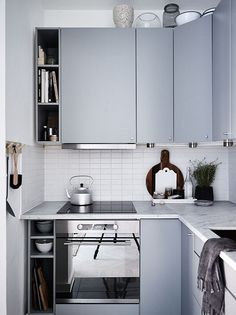 15 Ideas For Tiny Kitchen Remodel Ideas Cabinets White Kitchen Cabinets, Kitchen Cabinet Design, Interior Design Kitchen, Kitchen Decor, Kitchen Ideas, Cupboards, Kitchen Designs, Interior Ideas, Navy Cabinets