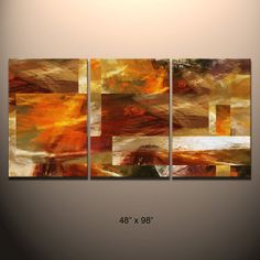 "HUGE 3 piece Triptych Abstract canvas wall art giclee print  fully stretched and ready to hang by Robert Hawk  ""Earth"""