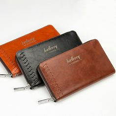 Men PU Wallet Multifunctional Retro Purse Zipper Closure Money Bag Long Style More Card Slots For Business Gentlema
