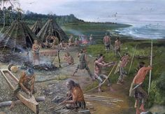Mesolithic coastal scene