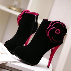 Winter Round Toe Side Flowers Embellished Stiletto High Heels Red Slip On Ankle Appliques Martens Boots