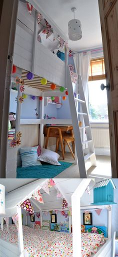 Dylan has a mid sleeper - totally want to bunting it up :) >>mommo design: LOFT BEDS