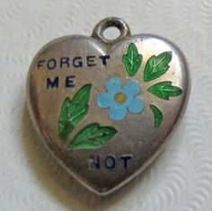 Vtg STERLING Silver & Enamel ~ FORGET ME NOT Flower PUFFY HEART Charm VALENTINE