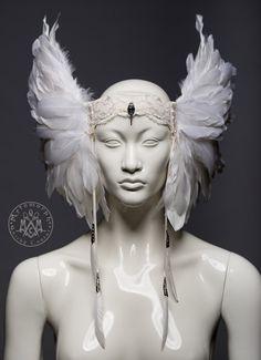 White feather headdress / Valkyrie winged headpiece / Pagan wedding headdress / Tribal fusion headdress / Burning man / LARP / Cosplay by MetamorphQC on Etsy https://www.etsy.com/dk-en/listing/467974164/white-feather-headdress-valkyrie-winged