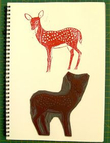 Fabulous linocut deer by Chantal Vincent. Inspiration for my animal stamp collection.