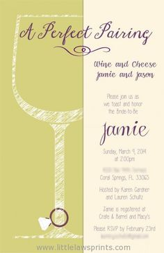 wine and cheese invitations, bridal shower
