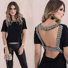 E o que é lindaaa essa blusa em pedraria com decote nas costas? ❤❤❤ Cores: Off white e Preta _______________________ Compras . Fashion Details, Look Fashion, Diy Fashion, Fashion Outfits, Womens Fashion, Fashion Design, Altered Couture, Cut Shirts, Diy Clothing