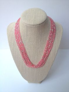 Coral seed bead necklace bridesmaid gift coral and gold