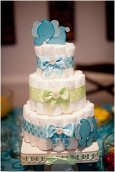 Elephant Theme Baby Shower Blue Green