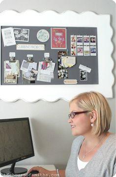 DIY Framed Fabric Pin Board - A Blogger's Office Makeover