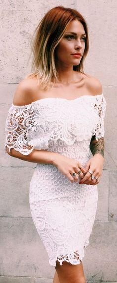 chic bodycon dresses, fashion off shoulder party dresses, short lace fashion gowns, white lace homecoming gowns. Lace Homecoming Dresses, Wedding Dresses, Dress Prom, Bodycon Dress, Pretty Dresses, Beautiful Dresses, White Lace, White Dress, White Cotton