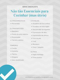 Checklist - Não tão essenciais para cozinhar (mas úteis) My House, Future House, Lego House, Home Alone, Home List, Home Hacks, Little Houses, First Home, E Design