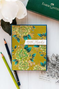 WPlus9 | Pencil Colored Floral Thank You Card
