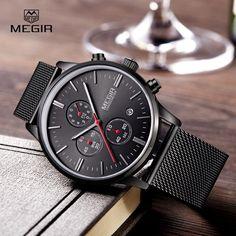 Megir Mens Fashion Business Quartz Analog Watch
