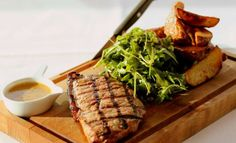 Steak is the best meal for a hungry pupil! Cooked  to perfection this can be just brilliant! Served with salad.