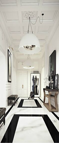 Interior design ideas - black modern bench - Atlanta Interior Designer - black and white interior design - Atlanta Interiors - Atlanta Home Decor - Interior Design Inspiration - entryway ideas - tile ideas - ceiling design ideas - modern art ideas Interior Architecture, Interior And Exterior, Classic Architecture, Modern Decor, Modern Classic Interior, Italy Architecture, Hall Interior, Eclectic Modern, Minimal Decor