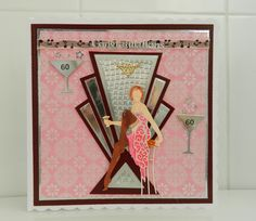 made by Jane Middleton using Cabaret Girl Rosie and Art Deco card dies by Tattered Lace Art Deco Cards, Tattered Lace Cards, Lace Art, Birthday Cards For Women, Art Deco Design, Aliexpress, Folded Cards, Hobbies And Crafts, Scrapbook Cards