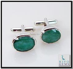 Emerald Silver Cuff link for Men http://www.riyogems.com/