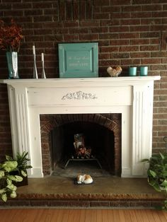 "A beautiful fireplace mantel using Annie Sloan's chalk paint |""pure white"", ""Paris grey"" and ""Provence"" with a little wet distressing Thank you Michelle"