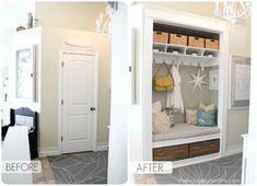 How to convert a boring entry closet into an organized entry nook