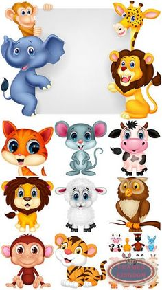Vector animals, lion, elephant, tiger, monkey Cartoon Drawings Of Animals, Anime Animals, Cute Animals, Hand Doodles, Fantasy Monster, Farm Birthday, Cute Animal Pictures, Photo Craft, Woody Woodpecker