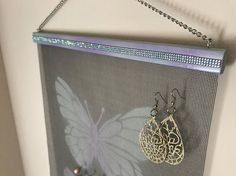 Blue/Purple Butterfly Wall Hanging Jewelry Organizer