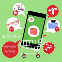 Online Shopping Cart with Smartphone. Clothes Icons. $5.00