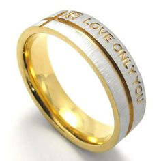 """KONOV Jewelry Classic Polished Lover's Men's Ladies Stainless Steel """"LOVE ONLY YOU"""" Promise Ring Engagement Wedding Bands, Valentine Gift, Gold Silver Two-Tone (Available in Size 6, 7, 8, 9, 10, 11, 12, 13) KONOV Jewelry. $8.99. Width: 6mm; Color: Gold & Silver; Available sizes: 6,7,8,9,10,11,12,13; Material: Stainless Steel"""