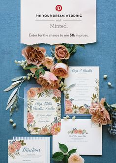 Pin your dream wedding for the chance to win $1,000 in Minted Weddings credit. Click here for entry details.