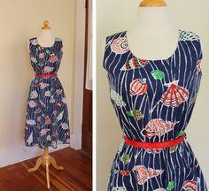 DARLING 1940's Style Rich Colors Cotton Hourglass Sun Dress w Fabulous Sea Shells Novelty Print - Belt - Patch Front Pockets - Size M to L