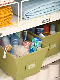Give each family member a personal tote. For a family bathroom, each member can store bathroom basics in a fabric or plastic tote, which can be stored in a bedroom or linen closet after use.