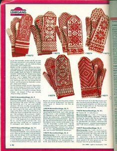 Knitted Mittens Pattern, Fair Isle Knitting Patterns, Knit Mittens, Knitted Gloves, Knitting Stitches, Knitting Socks, Hand Knitting, Crochet Patterns, Norwegian Knitting