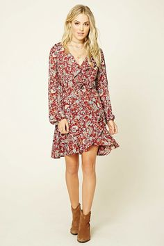 Forever 21 Contemporary - A woven wrap dress featuring a floral paisley print, self-tie waist, long sleeves with elasticized cuffs, and a ruffle trim.