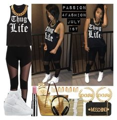 """""""Passion 4Fashion: T.H.U.G. L.Y.F.E."""" by shygurl1 ❤ liked on Polyvore featuring Chantecaille, NIKE, Maison Margiela, Movado, Michael Kors, Moschino and Beats by Dr. Dre"""