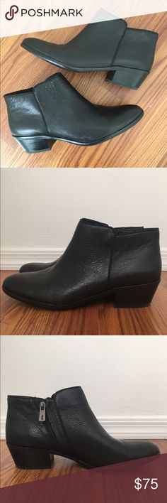 Sam Edelman - Petty Chelsea Boot Practically new black leather ankle booties! Side zipper. 1 3/4' heel making them perfect for the everyday! Leather upper and synthetic lining and sole. Sam Edelman Shoes Ankle Boots & Booties