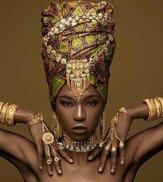 by Model: Mua: Stylist: Headwrap & Jewelry: Black Love, Black Is Beautiful, Planet Design, Flame Art, Afro Style, Cute Scarfs, Art Of Beauty, African Culture, Headgear